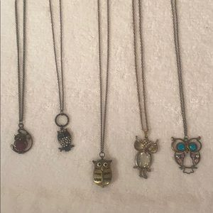 Owl necklaces and a ring
